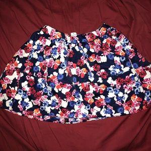Express floral mini high waisted skirt